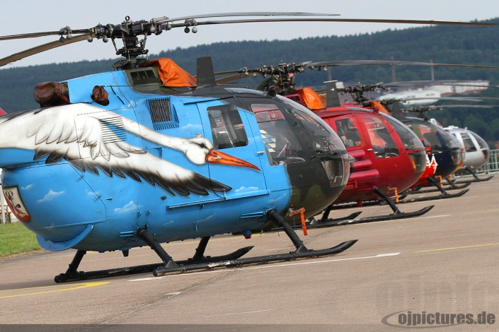 Flightline of the coloured Bo-105's.
